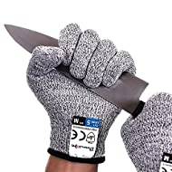 Dowellife Cut Resistant Gloves Food Grade Level 5 Protection, Safety Kitchen Cuts Gloves for Oyster Shucking, Fish Fillet Processing, Mandolin Slicing, Meat Cutting and Wood Carving, 1 Pair (Large)