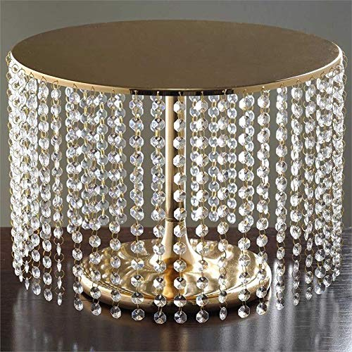 "Efavormart Gold Breathtaking Crystal Pendants Metal Chandelier Wedding Birthday Party Dessert Cake Display Plate - 12"" Tall"