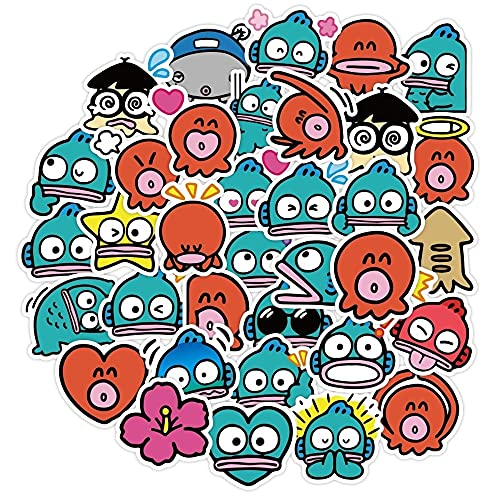 LSPLSP Pulpo de Dibujos Animados Emoji Pegatina Impermeable DIY papelería Taza de Agua Diario teléfono móvil Ordenador Pegatina para niños 40 Uds