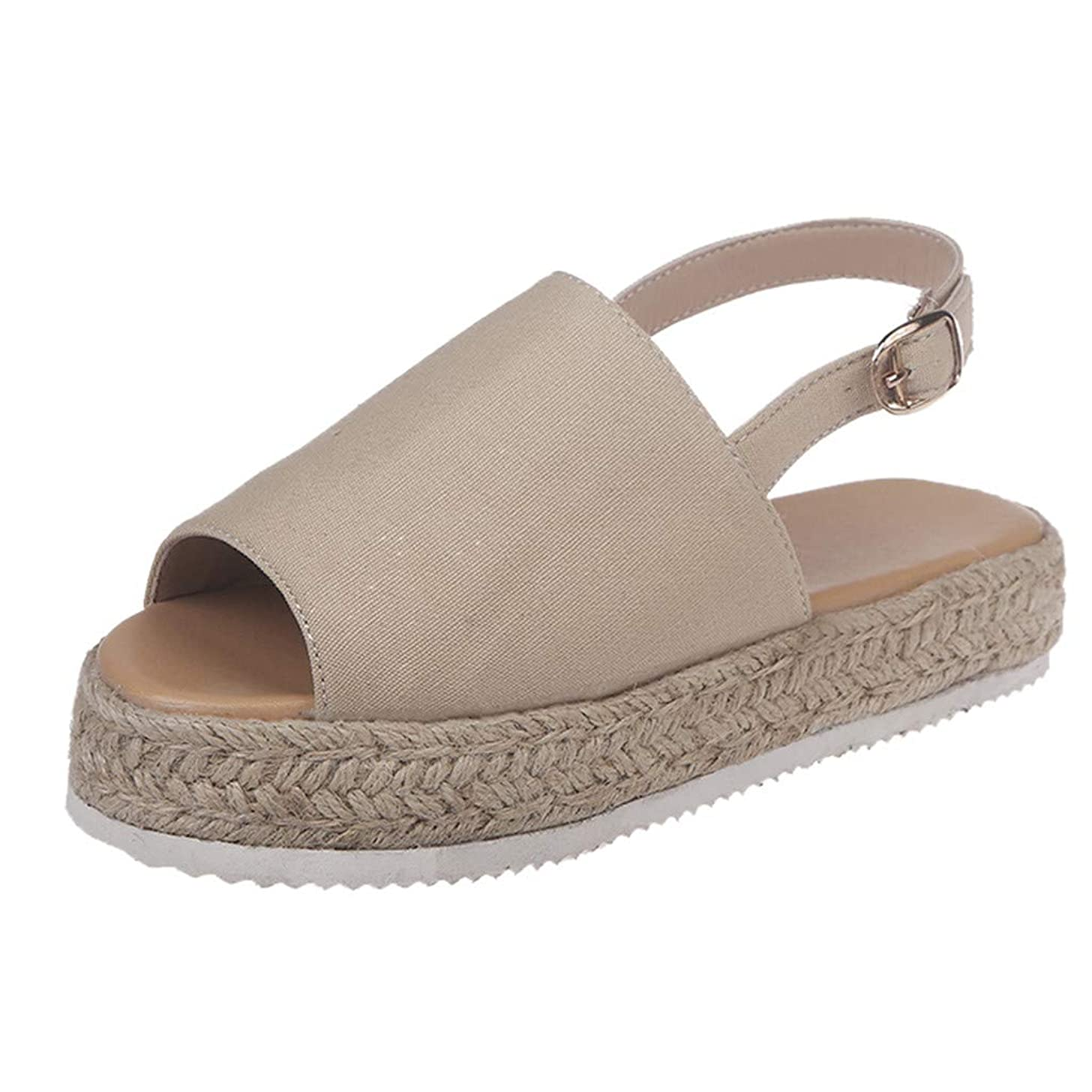 Women's Stylish Solid Platform Espadrilles Flat Shoes Beach Casual Ankle Strap Block Wedges Sandals JHKUNO