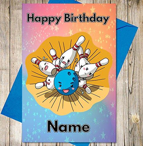AK Giftshop Ten Pin Bowling Personalisierte Geburtstagskarte–Jeder Name und Alter Druck auf der Vorderseite