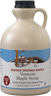 Hidden Springs 100% Natural Vermont Maple Syrup, Grade A Dark Robust (Formerly Grade B), 32 Ounce, 1 Quart, Family Farms, BPA-free Jug