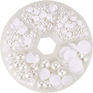 PH PandaHall 690pcs 6 Sizes White Flat Back Pearl Cabochon Flat Back Pearls for Crafts Scrapbooking Embellishment DIY Phone Nail Making(4mm, 5mm,6mm, 8mm, 10mm, 12mm)