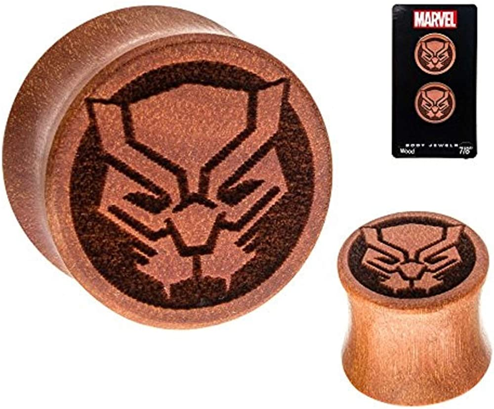 Officially Licensed Marvel, Black Panther Double Flare Sawo Wood Plugs - 9/16