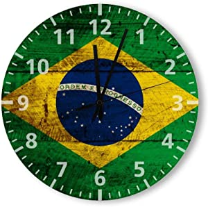 Round Wood Wall Clock Home Decor,Brazil Flag on Old Wood Grain Large Clock Pattern Wood Wall Clock, Battery Operated, no ticking sound, for home, the Kitchen, Living Room, Bedroom, Restaurant or Offic