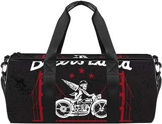 DJROWW Schultertasche für Helm auf Motorrad und Golden Gate Bridge Duffel Schultertasche Segeltuch Reisetasche für Gym Sport Tanz Reisen Weekender