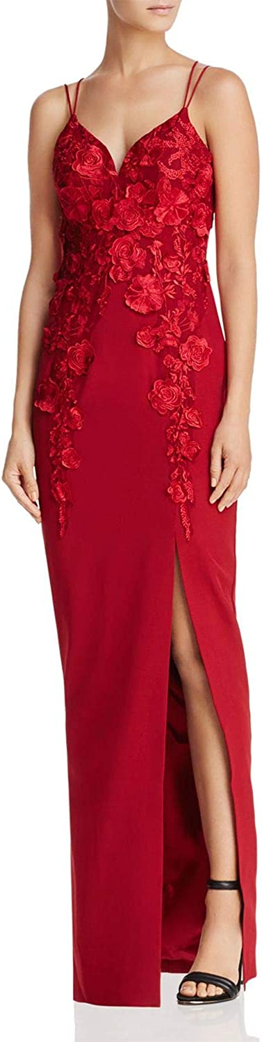 Bariano Womens Lace FullLength Evening Dress