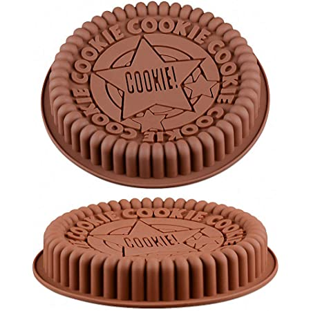 2Pcs Giant Sandwich Oreo Big Cookie Cake Pan 9 Inch Rock Star Bread Baking Silicone Mold (Set of 2, Random Color)