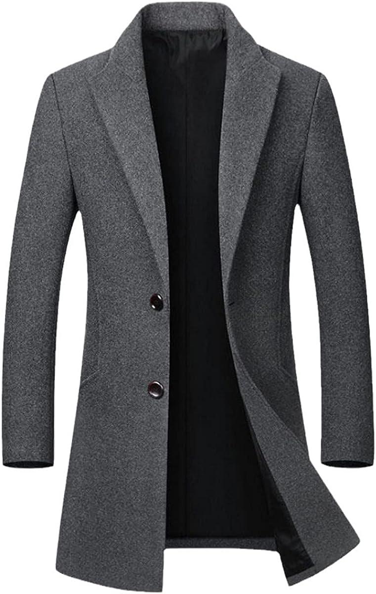 Winter Wool Coat Men's Wool Coat Casual Slim Collar Wool Coat Long Cotton Collar Trench Coat