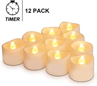 Homemory Set of 12 Bright Warm Yellow Timer Tea Lights, Battery Operated LED Tea Lights with Timer and Flickering Flame, 1.4'' D X H1.25'' H