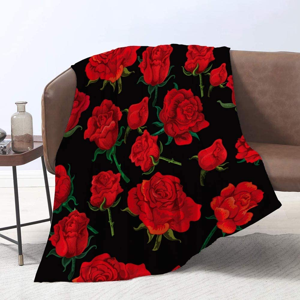 Yunine Flowers Blanket 60 x 80 Pa Throw red Omaha Mall Inches Rose Alternative dealer