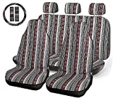 INFANZIA Baja Car Seat Cover - 10 PC Universal Boho Bucket Seat Covers Full Set, Saddle Blanket Front & Rear Seat Cover with Steering Wheel Cover & Seat-Belt Pad Protector for Car, SUV, Truck