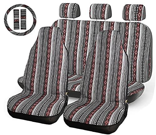 INFANZIA Baja Car Seat Cover - 10 PC Universal Boho Bucket Seat Covers Full Set, Saddle Blanket...