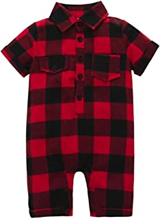 Infant Baby Girls Boys Short Sleeve Button Down Plaid Flannel Romper Playsuit Tops with Pocket