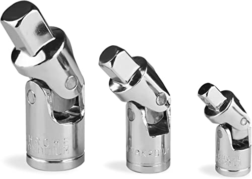 2021 Larcele sale 360 Degree Swivel Drive 1/4 3/8 1/2 Inch Universal Joint Socket and new arrival Adapter Set Silver Chrome Finished 3 Pieces WXJT-01 outlet sale