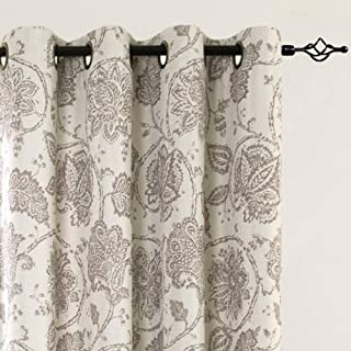 jinchan Blackout Curtains Floral Scroll Printed Linen Textured Curtains Grommet Top Ikat Flax Textured Medallion Design Jacobean Curtains Retro Living Room Curtain Sets Taupe 84 Inch 2 Panels