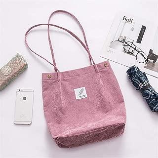 Vioaplem Fashion High Capacity Corduroy Shopping Tote Bag Shoulder Travel Beach Foldable School Handbag for Women (Color : Violet)