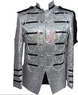 Functie Mannen Pailletten Punk Kostuums Stand Collar Big and Tall Dress Blazer Jacket Sport Coat Klassiek.