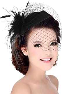 Fascinators Hat for Women Mesh Ribbons Feathers Hair Clip Kentucky Derby Headband Tea Party Wedding Headwear