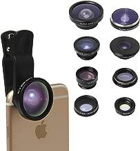 TEQStone 8-in-1Phone Lens Kit Clip-On Camera 1 x 0.65 x Macro Wide Lens Fisheye Lens 180° Telephoto Lens 2X CPL Lens Super Fisheye Lens 235° 19X Macro Lens 0.4X Super Wide Angle Lens