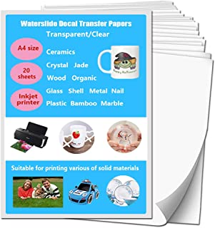 مجموعة ملصقات ووترسلايد شفافة للطابعات النافثة للحبر من 20 ورقة فاخرة قابلة للطباعة بحجم A4 لتزيين الهدايا التي تصنعها بنف...
