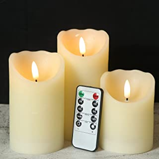 Eldnacele Flameless ing Candles with Timer, 3D Wick Real Wax Battery Operated Ivory Pillar Candles with 6H Timer Set of 3 ...