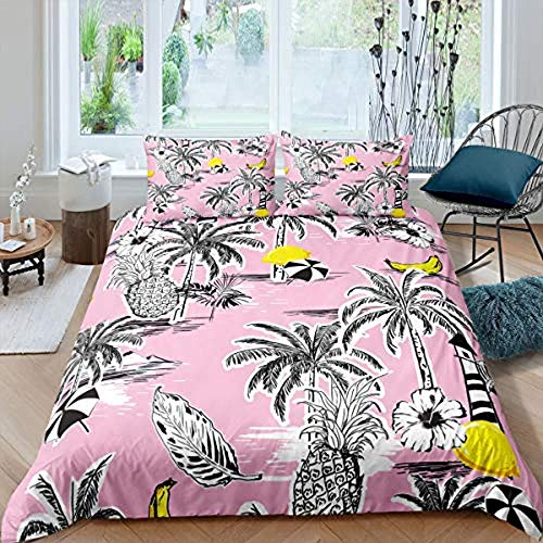 Matasuer Duvet Set With, Polyester/Cotton, Abstract Tropical Plant Palm Tree Pineapple - Double (200 X 200 Cm) -Include 1 Quilt Cover+2 Pillowcases-Soft Hypoallergenic Brushed Microfibre Bedding