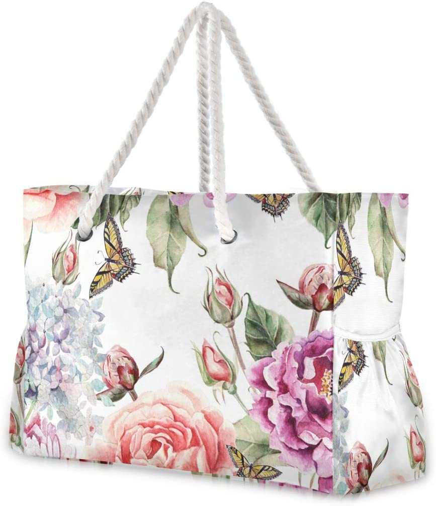 specialty shop Beach Tote Virginia Beach Mall Bags Flowers Hydrangea Petals Travel Buds Peonies And