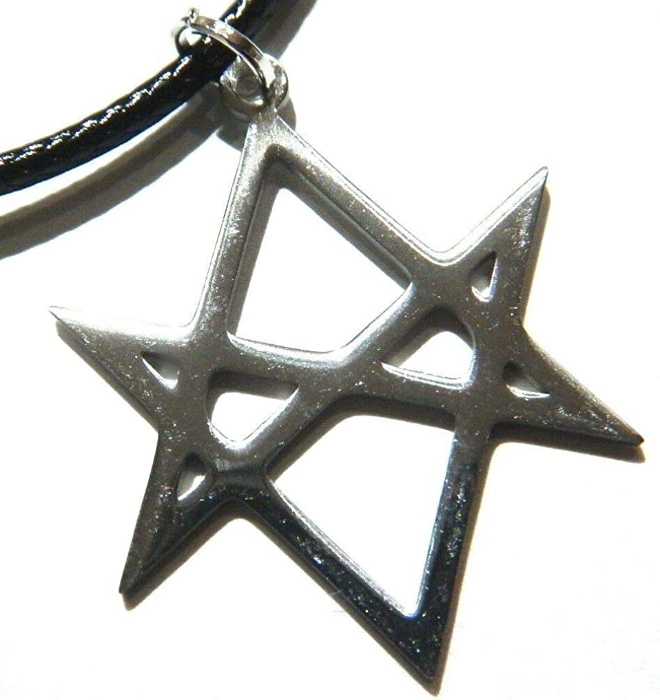 Aleister Crowley Unicursal Hexagram 6-Pointed Star Laser-Cut Stainless Steel Pendant on 18