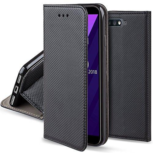 Moozy Cover per Huawei Y6 2018, Nero - Custodia a Libro Flip Smart Magnetica con Appoggio e Porta Carte