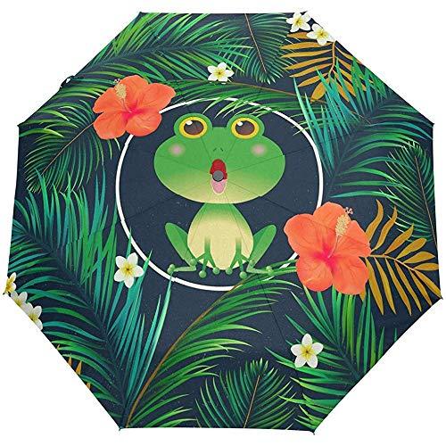 WILHJGH Netter Frosch-Kunst-automatischer Faltbarer Regenschirm-UVschutz-Auto-Öffnen-Schließen-faltende Sonnenschutzschirme