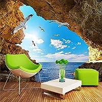 Djskhf カスタム任意のサイズ3D壁壁画青い空と白い雲海の風景の背景壁紙ロールリビングルーム家の装飾壁紙 400X280Cm