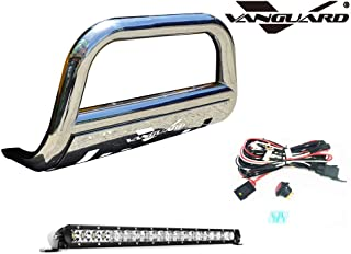 VANGUARD VGUBG-0883-1013SS-20LED Multi-fit Bumper Guard Stainless Steel Bull Bar with Skid Plate and 20 inch LED Light Bar Combo