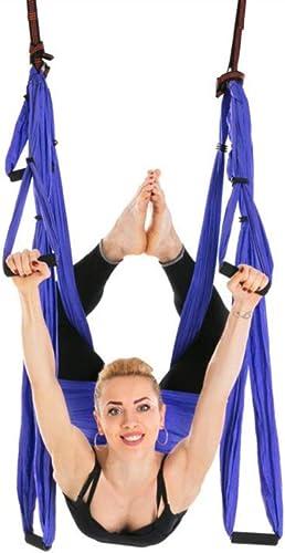 Leaysoo Hamac-intérieur extérieur Renversement Parachute aérienne Yoga Yoga hamac Yoga Swing Fitness,12,B