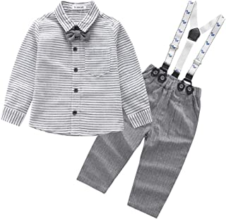 Mornyray Infant Baby Boy 2Pcs Gentleman Formal Suit Outfit Tuxedo Shirt Pant Set