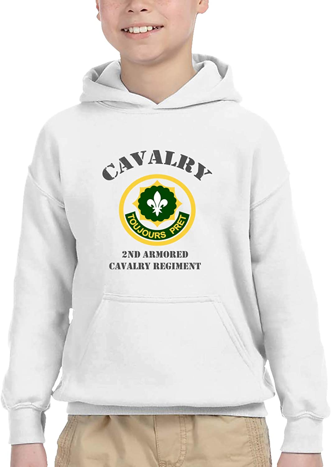 Army 2nd Armored Cavalry Regiment Veteran Juvenile Hooded Sweater Casual Hoodie For Baby Boys Girls