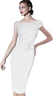 Womens Elegant Floral Applique Cocktail Party Bridesmaid Sheath Dress