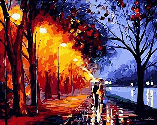 Preisvergleich Produktbild yaonuli Malerei digitales Ölgemälde dekoratives Gemälde handgemaltes Ölgemälde im Regen 40x50cm Rahmenlos