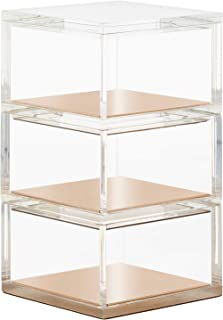 OfficeGoods Acrylic & Gold 3 Tier Stackable Organizer – Functional & Elegant Accessory Designed for Your Office or Home – Great Spot for All Your Little Bits (Gold/Square)