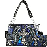 Justin West Camouflage Tree Branches Bling Rhinestone Cross Wings Handbag Purse Messenger Bags and Wallets (Blue Cross Handbag and Wallet)