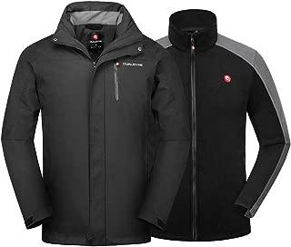 qualidyne Men's Ski Jacket 3 in 1 Windproof Waterproof Jacket, Detachable Hooded Windbreaker with Inner Warm Fleece Coat