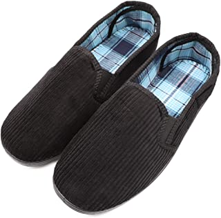 ZTL Men's Extra Wide Memory Foam Diabetic Slippers Edema Swollen Feet House Shoes Slip On Corduroy Moccasin Slippers Indoor Outdoor