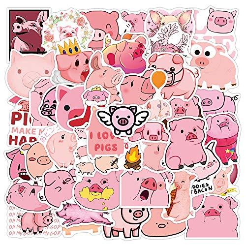 LSPLSP Kawaii Dibujos Animados Pink Pig Vsco Pegatinas para niña Chico Regalo Juguete DIY monopatín Maleta portátil Bicicleta Casco Coche calcomanías 50 Uds