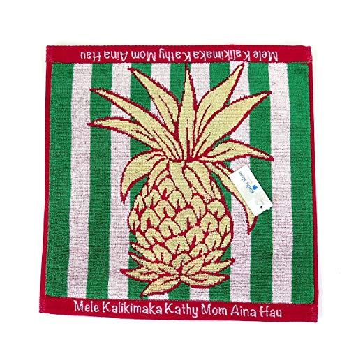 [Island Style Kathy Mam] クリスマス限定 キャシーマム ハワイアン キルト柄 ハンドタオル (クリスマス パイナップル) タオルハンカチ ミニタオル ハワイアン雑貨 ハワイ お土産 (グリーン)