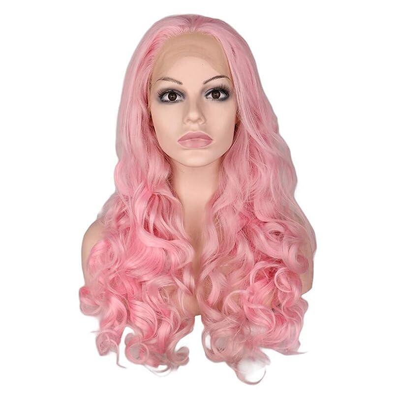 なぞらえるエキサイティング処方Koloeplf フロントレースウィッグ女性ヨーロッパとアメリカのウィッグピンクビッグウェーブロングカーリーヘアウィッグ (Color : ピンク)