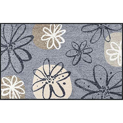 Erwin Müller Fußmatte, Schmutzfangmatte, Fußabtreter rutschhemmend, Blumenmotiv grau-braun, Größe 75x120 cm - robust, langlebig, pflegeleicht, für Fußbodenheizung geeignet (weitere Farben, Größen)