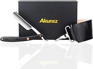 Straight Razor Kit AKUNSZ Black Straight Edge Razor and Strop with Delicate Wooden Handle