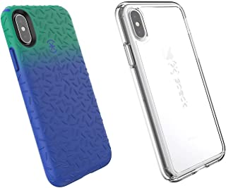 Speck Products 2-Pack Candyshell Fit and Candyshell Grip iPhone X Case (Evergreen Green Ombre Blueberry Blue/Clear)