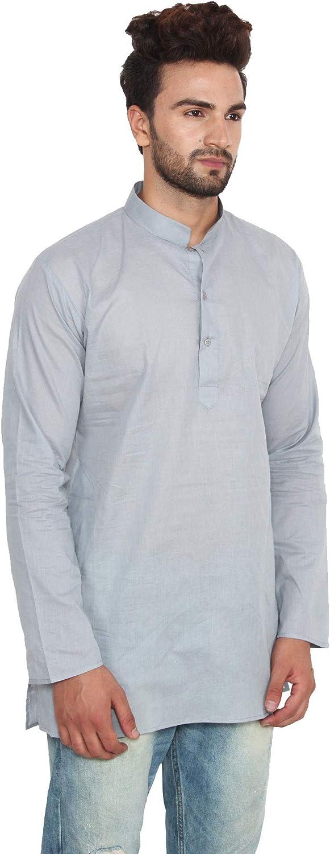 MapleClothing Vestido Algodón Hombre Corto Kurta Camisa Ropa India