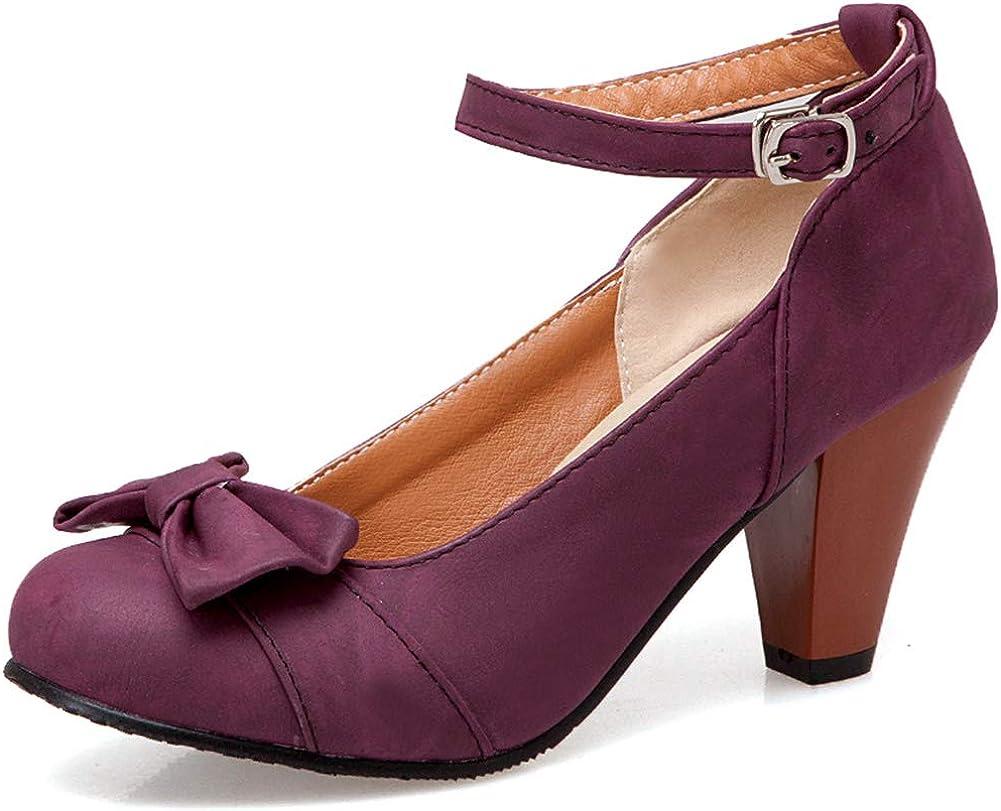 SaraIris Women's Chunky Popular popular Heels Sacramento Mall Mary Sweet Buckle Bow Janes Ankle
